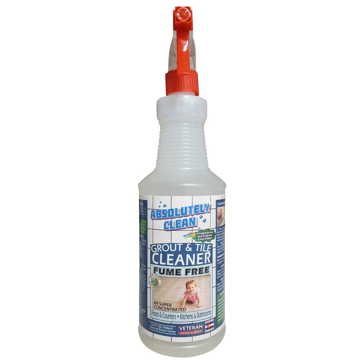 AMAZING GROUT CLEANER, PROFESSIONAL STRENGTH, FUME FREE: Natural Enzymes Clean the Dirtiest Grout Quickly & Easily, Best Grout Cleaner For Tile and Grout, Floors, Bathrooms, Counters, USA MADE