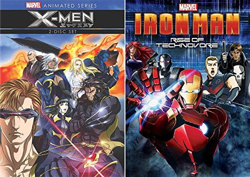 Marvel Comics Anime Collection: X-MEN (animated series) & Iron Man Rise of Technovore (Avengers/ Punisher) 3 Disk-DVD Collection