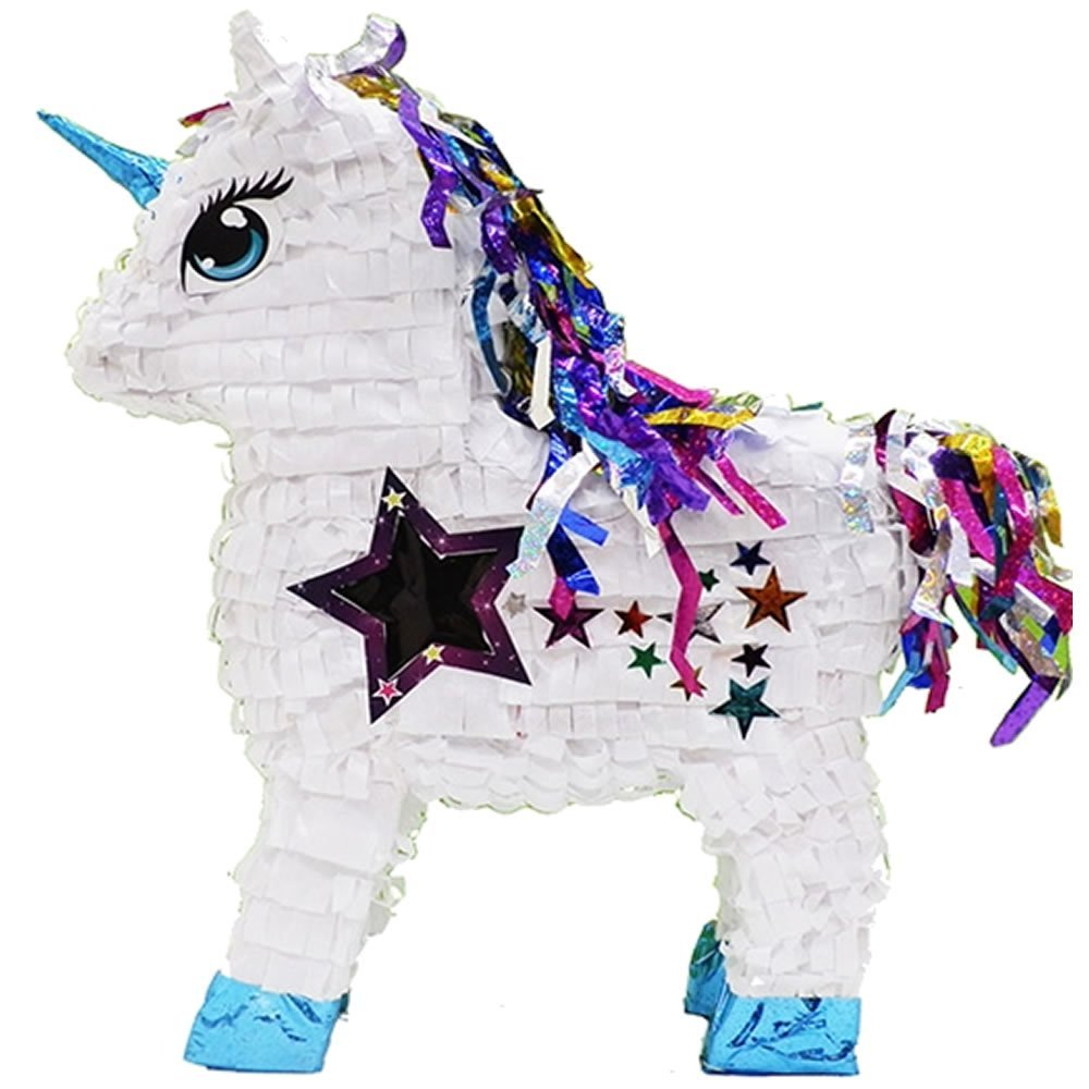 """Pinatas Stardust Unicorn with Shiny Rainbow Mane and Star Window, 20"""" Party Game and Decoration, White PPB106"""