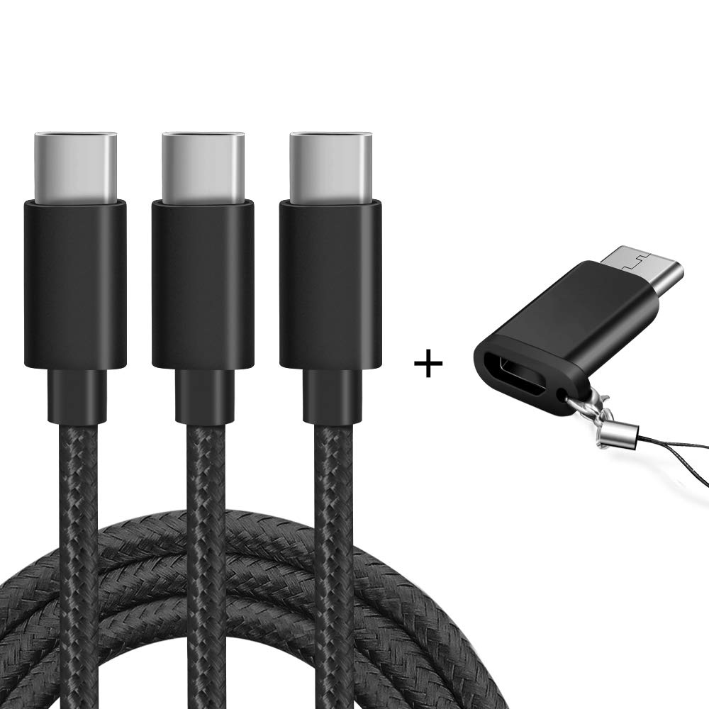 OULUOQI USB Type C Cable,(3 Pack 6FT) USB A to USB C Fast Charger Nylon Braided Cord Compatible Samsung Galaxy S9 S8 Plus Note 9 8,Moto Z Z2,LG V20 G5 G6,Google Pixel 2 XL,Nintendo Switch(Black)