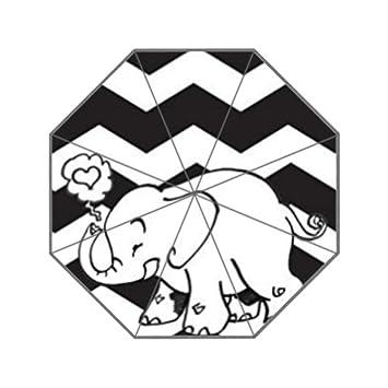 Blanco y Negro Patrón de Chevron Zigzag con diseño de elefante Custom paraguas resistente a los