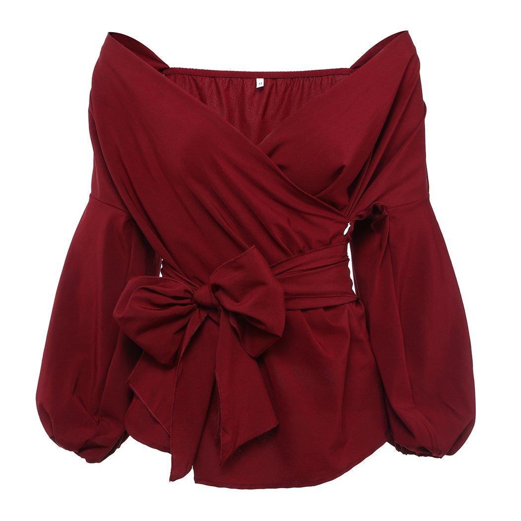 FUNOC Women Top Ruffle Waist Tie Cross Tee Shirt Off Shoulder Tank Blouse