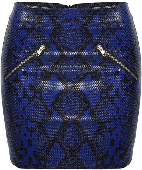 Mujer Corto Falda Cintura Alta Piel De Serpiente Impreso ...