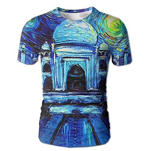 Mahal Tee (Starry Taj Mahal Men Novelty Short Sleeve T-Shirts Graphic Crew Neck Tops)