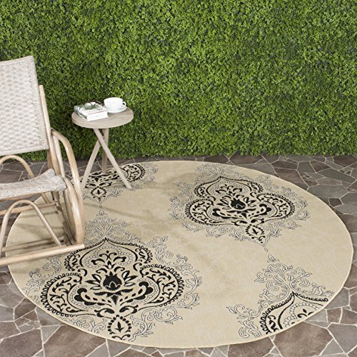 Safavieh Courtyard Collection CY7926-16A22 Cream and Black Indoor/ Outdoor Round Area Rug (5'3