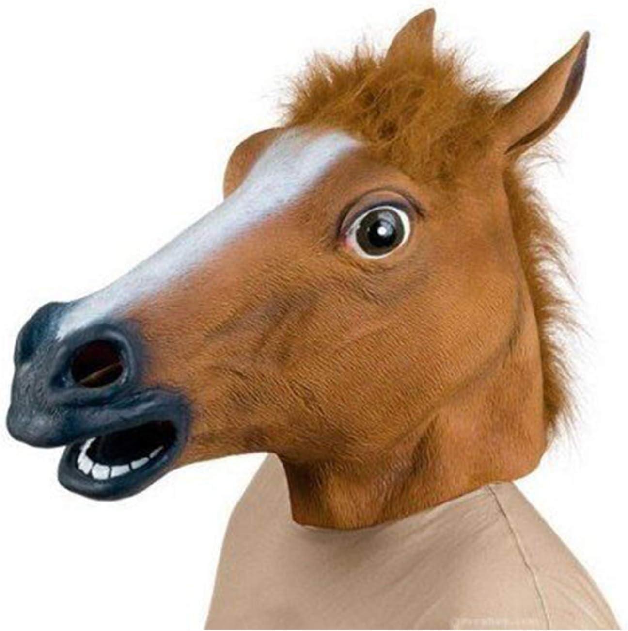Lypumso Máscara Cabeza de Caballo de Látex de Gaucho Halloween Carnaval Traje Máscara Navidad Fiesta Decoraciones Adulto Accesorio Del Traje (Marrón)