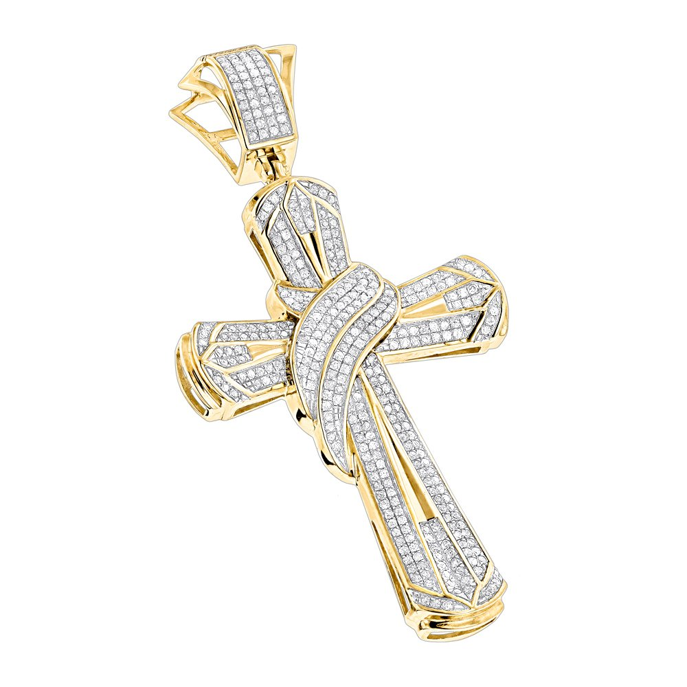 Luxurman Large 10K Mens Natural 1 Ctw Diamond Cross Necklace Pendant (Yellow Gold)
