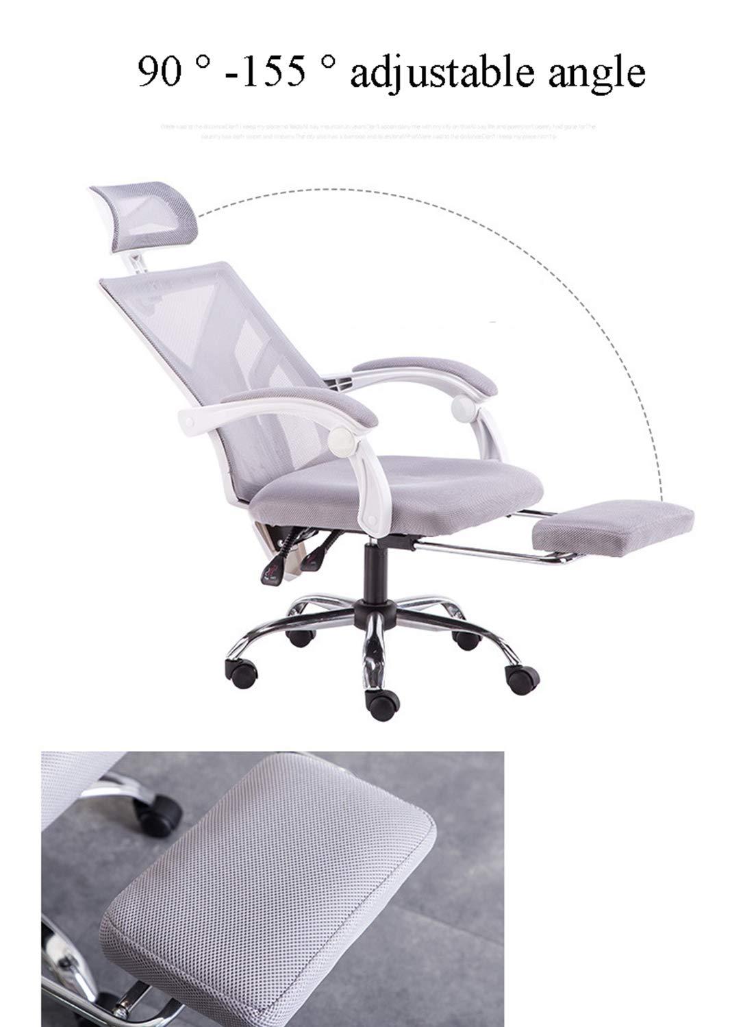 DEAR-JY Ergonomisk kontorsstol, 360° svängbar stol, hög rygg andningsbar nätstol med lutningsfunktion, armstöd och ländrygg stöd datorstol, spelstol med justerbart nackstöd Svart