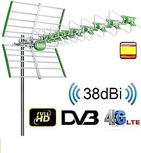 Antena para tv exterior FULL HD UHF 38 DBI TV TDT DVB-T FILTRO LTE ACTIVA