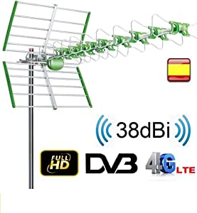 Antena para tv exterior FULL HD UHF 38 DBI TV TDT DVB-T FILTRO LTE ACTIVA: Amazon.es: Electrónica