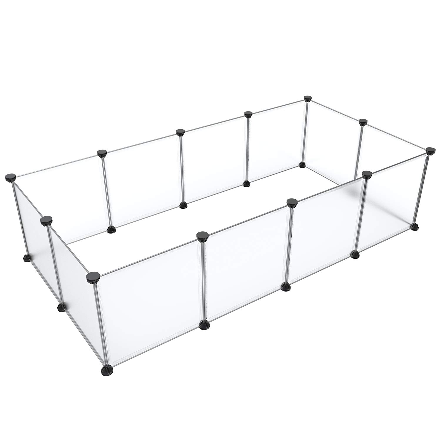 12 Panels Frosted White Tespo Pet Playpen Animal Fence Cage DIY Exercise Pen Crate Kennel Hutch for Small Animals, Bunny, Rabbit, Puppy & Guinea Pigs, Indoor Upgrade 12 Panels (Frosted White)