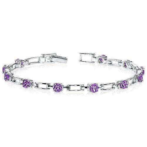 Amethyst Bracelet Sterling Silver Rhodium Nickel Finish 2.50 Carats Chic Design
