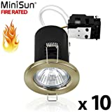 Pack of 10 - MiniSun Fire Rated Antique Brass GU10 Ceiling Downlights