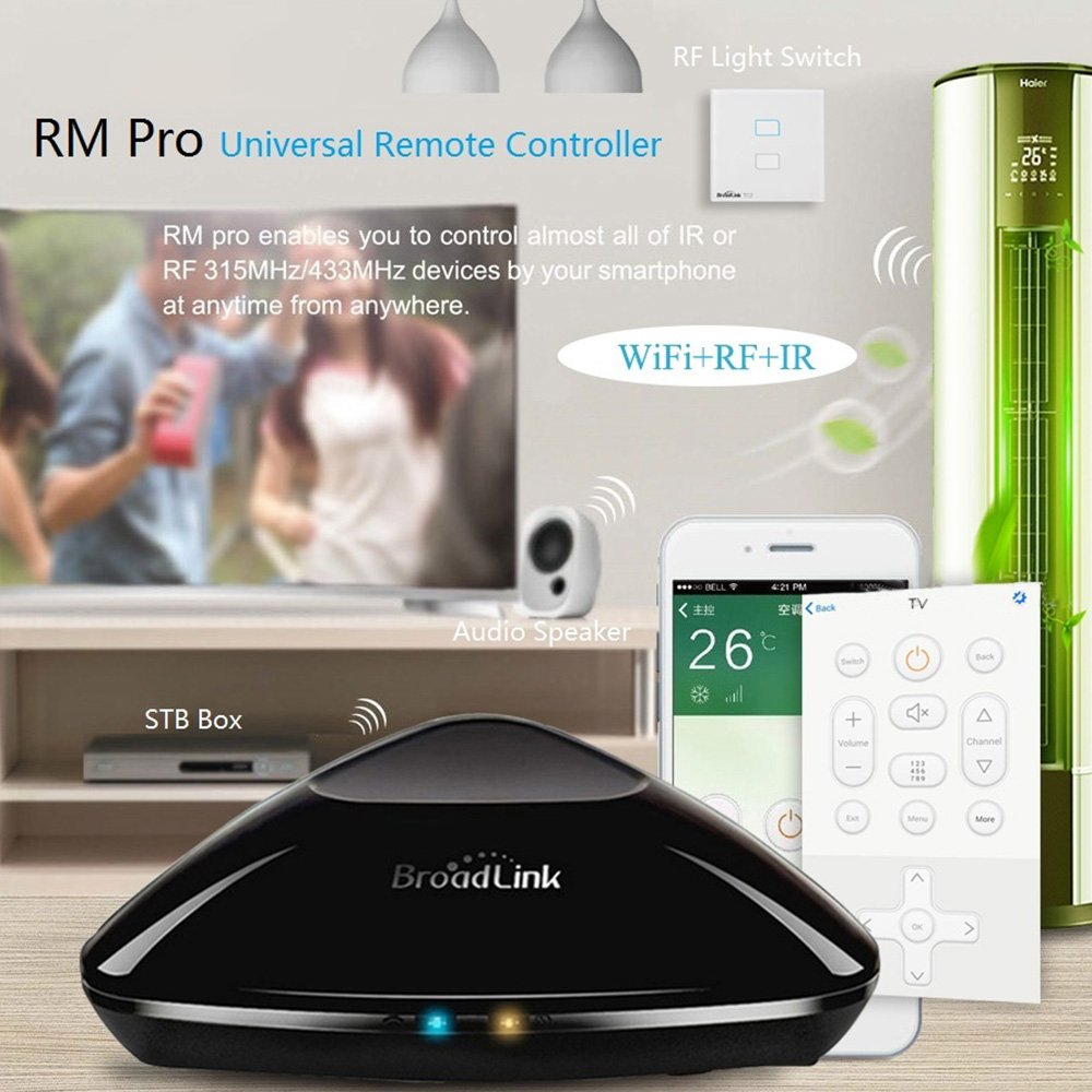 BroadLink New RM Pro,WiFi Smart Home Hub, IR RF All in One Automation  Learning Universal Remote Control Compatible for Apple Android Smartphone