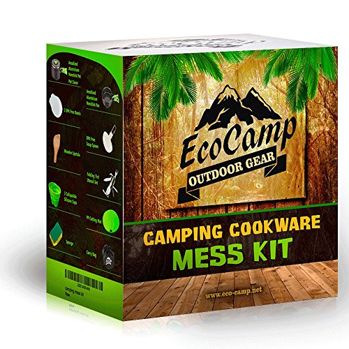 Mess Kit (13 Pcs) for Camping w/ Cookware Set Plus 7 In 1 Utensil Set, 2 Silicone Cups, Cutting Mat & Dunk Bag by EcoCamp Outdoor Gear Compact, Light & Durable for Military, Backpacking, Hiking Green