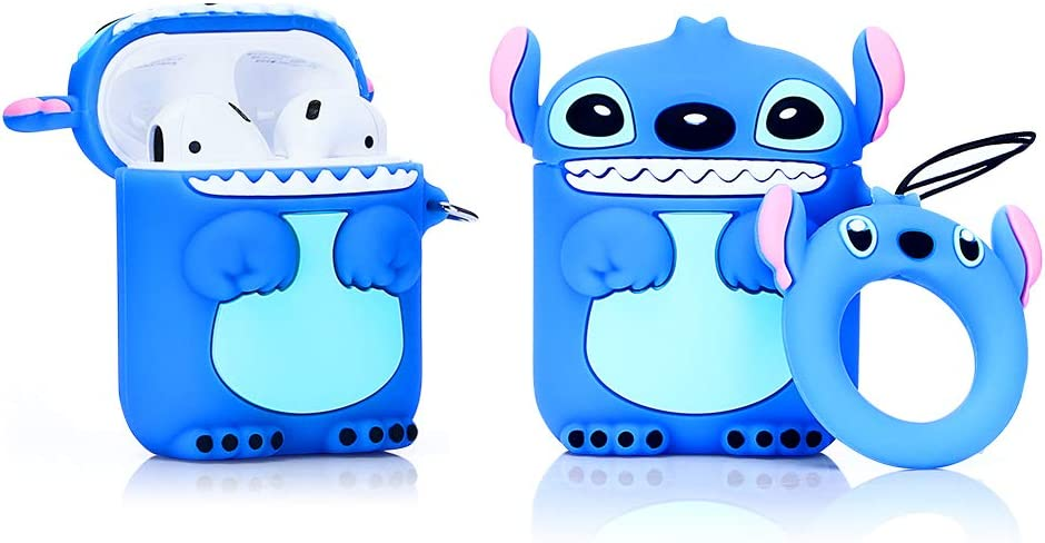 ZAHIUS Airpods Silicone Case Cool Cover Compatible for Apple Airpods 1&2 [Cartoon Series][Designed for Kids Girl and Boys] (Stitch)