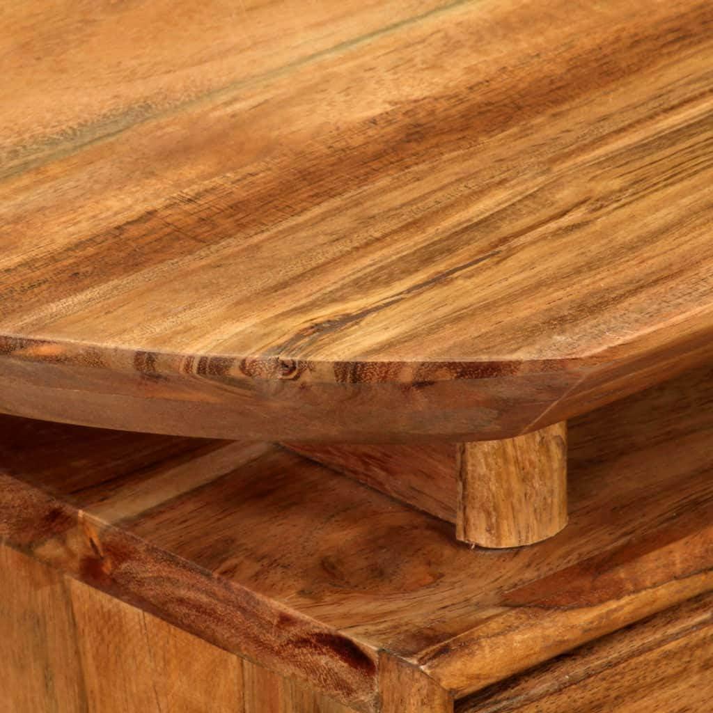 Festnight Nachttisch Rustikal Nachtkommode Schlafzimmer Beistelltisch mit Schublade Massiv Akazienholz 45 x 35 x 45 cm Holz Nachtschrank