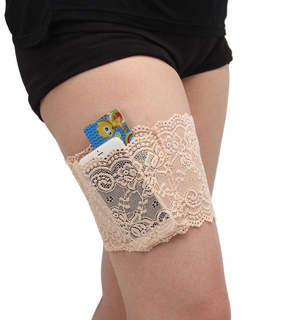 Shinely Damen Elastische Oberschenkel Socken Lace Schenkel-Band Anti-Chafing Bands Anti-Rutsch Oberschenkelb/änder mit Cellphone Tasche