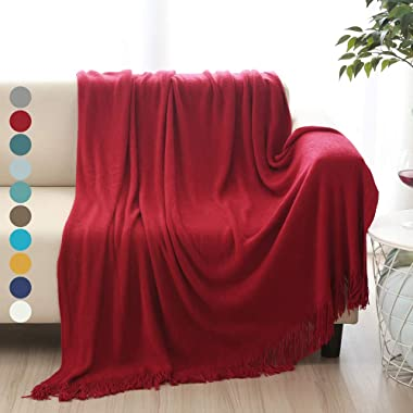 ALPHA HOME Soft Throw Blanket Warm & Cozy for Couch Sofa Bed Beach Travel - 50  x 60 , Red