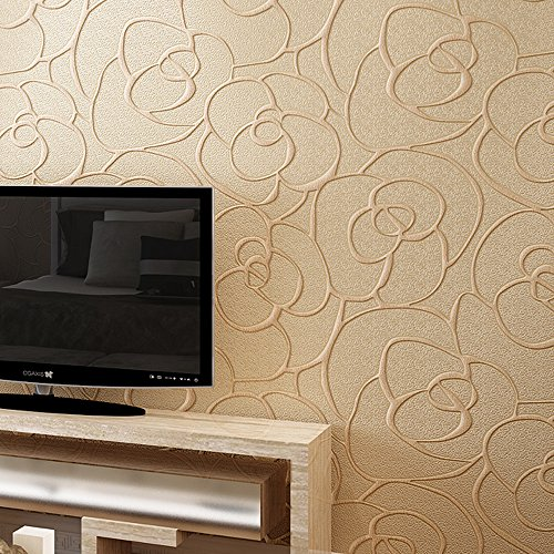 QIHANG Modern Minimalist Embossed 3D Rose Flower Non-woven Wallpaper Beige Color 0.53m10m=5.3㎡