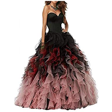 2108 Sweethart Ball Gown Puffy Prom Dresses Long Quinceanera Dresses Black Lilac Prom Dresses L291 Black