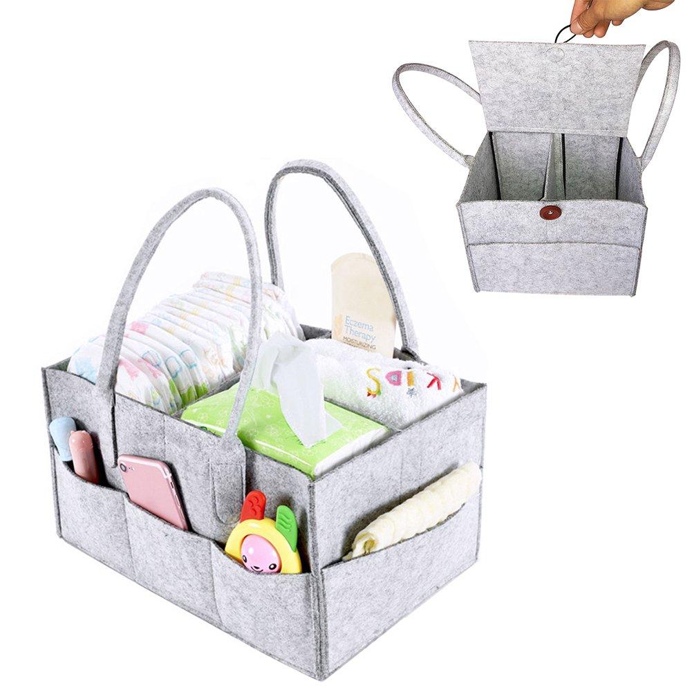 PER Filz Baby Windel Caddy Organizer Korb tragbar Storage Bin groß Kindergarten Tasche mit herausnehmbaren Trennwänden für Wickelkommode, Beißring, Windel, Lätzchen Best Baby Dusche Geschenk Korb Beißring