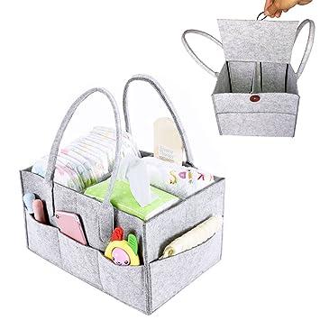 Auto und Reisen,Baby Dusche Geschenk Korb Baby Windel Caddy Organizer,Tragbar Filz Baby Windeltaschen,mit herausnehmbaren Trennw/änden f/ür Kinderzimmer