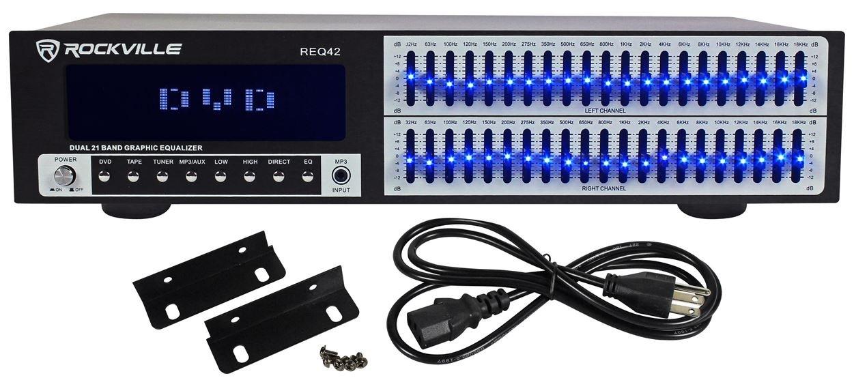 Rockville REQ42-B Black 19'' Rack Mount 2 x 21 Band Equalizer w/Spectrum Analyzer