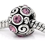 Truly Charming® Silver Pink Stone Charm Bead Will Fit Pandora Troll Chamilia Style Bracelets