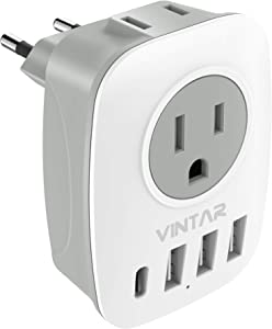 European Travel Plug Adapter, VINTAR International Power Adaptor with 1 USB C Compatible with iPhone 11/11 Pro / 11 Pro Max, 2 US Outlets and 3 USB Ports, 6 in 1 European Plug Adapter (Type C)
