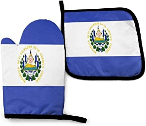 El Salvador Flag Pot Holders and Oven Mitts Sets BBQ Gloves Disposable Food Safe Heat Resistant Cooking with Non-Slip Silicone for Cooking and Baking Cute