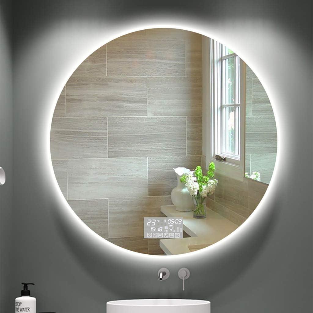 Miroir Rond Lumineux De Salle De Bains À LED, Temps De Fonction De Musique  Audio Désembuée De Bluetooth - Maquillage HD Anti-déflagrant Et Miroirs De