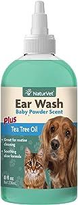 NaturVet – Ear Wash Liquid - Plus Tea Tree Oil – Gentle Formula Dissolves Ear Wax & Removes Debris – Enhanced with Aloe & Baby Powder Scent – for Dogs & Cats