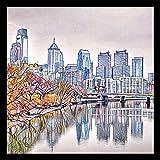 FRAMED Philadelphia Mosaic Skyline by Brandi Fitzgerald 18x18 Art Print Poster Abstract City Skyline Painting