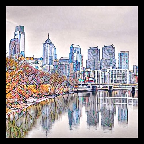 FRAMED Philadelphia Mosaic Skyline by Brandi Fitzgerald 36x36 Art Print Poster Abstract City Skyline Painting MADE IN THE USA! COMES READY TO HANG!