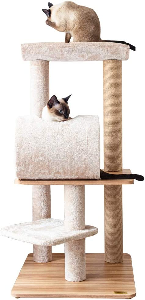 Catry, Large Activity Cat Tree Scratching Post Activity Center Wooden Carpet 40-50 Inch