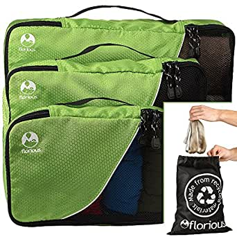 Florious 4-Piece Packing Cubes Laundry Bag Value Set for Eco Friendly Travel