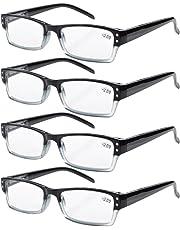 Eyekepper 4-pack Spring Hinges Rectangular Reading Glasses Black +1.75