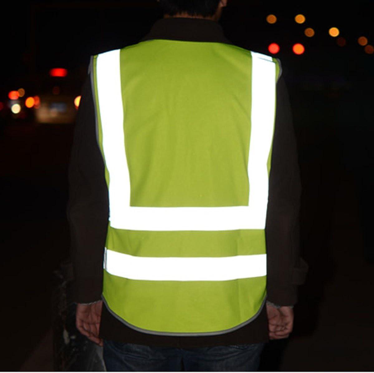 SFVest Gilet de S/écurit/é Col V Haute Visibilit/é Bandes R/éfl/échissantes Travail Signalisation Zipp/é Veste L/éger sans Manches Avertissement Nuit S/écurit/é Quatre Poches Jaune M//L//XL