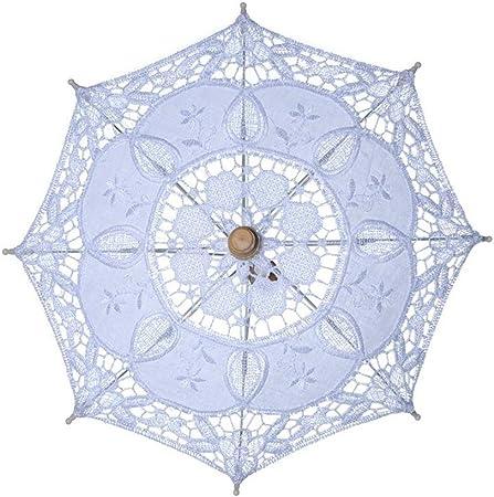 bpblgf H - Paraguas de Boda Hecho a Mano de Algodón con Encaje, sombrilla de Verano para Dama de Honor, B, 45 x 43: Amazon.es: Hogar
