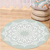 VROSELV Custom carpetArabian Decor Oriental Pattern with Damask Arabesque and Floral Elements Classical Islamic Art Motifs Bedroom Living Room Dorm Decor Green White Round 47 inches