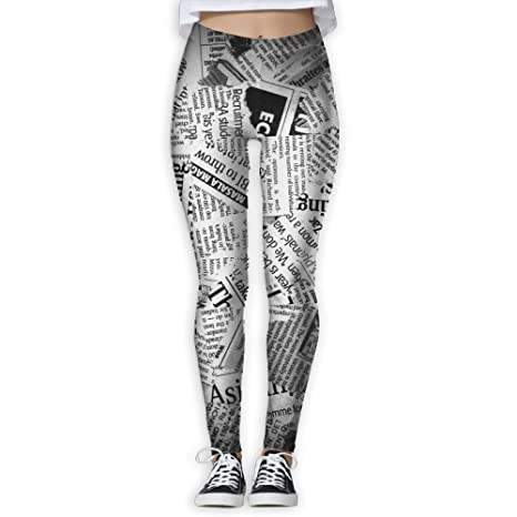 ZGZGZ Womens Ancient Newspaper Printed Yoga Pants Workout Capris  Lightweight Yoga Leggings 1f3bc8c6a0fc0