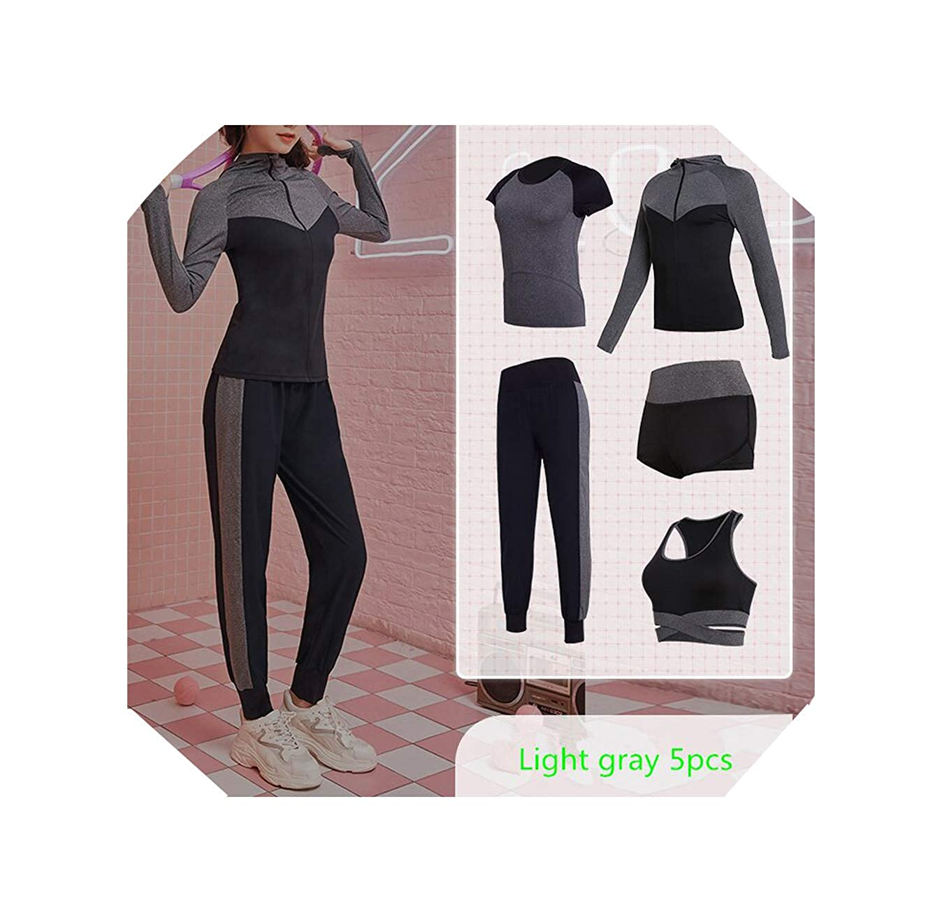 Bats 4375 WBeauty Women's Yoga Clothes Set Running Tights Sportswear Quick Dry