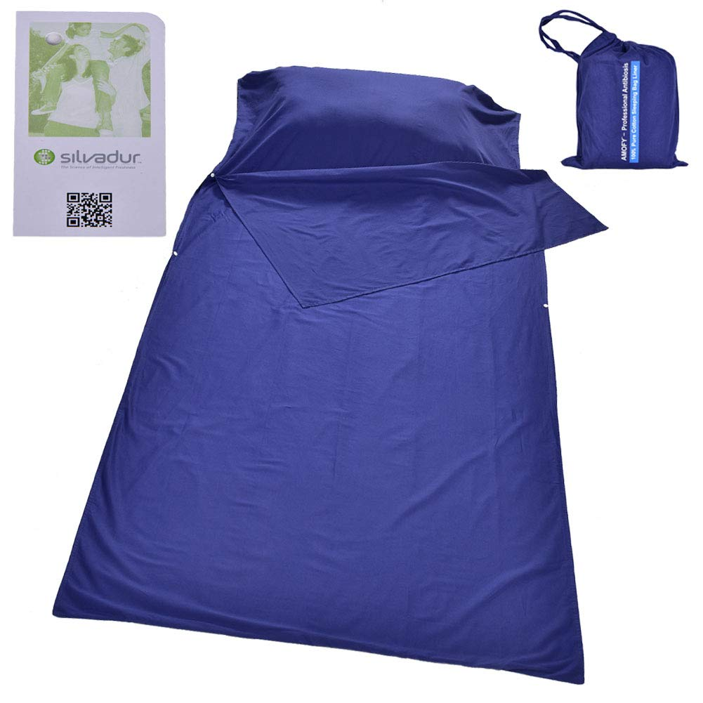 AMOFY Sleeping Bag Liner and Camping Sheet, 100% Pure Cotton, Professional Antibacterial, Breathable, Full Length Zipper, Use as Sleep Sack When You Travel