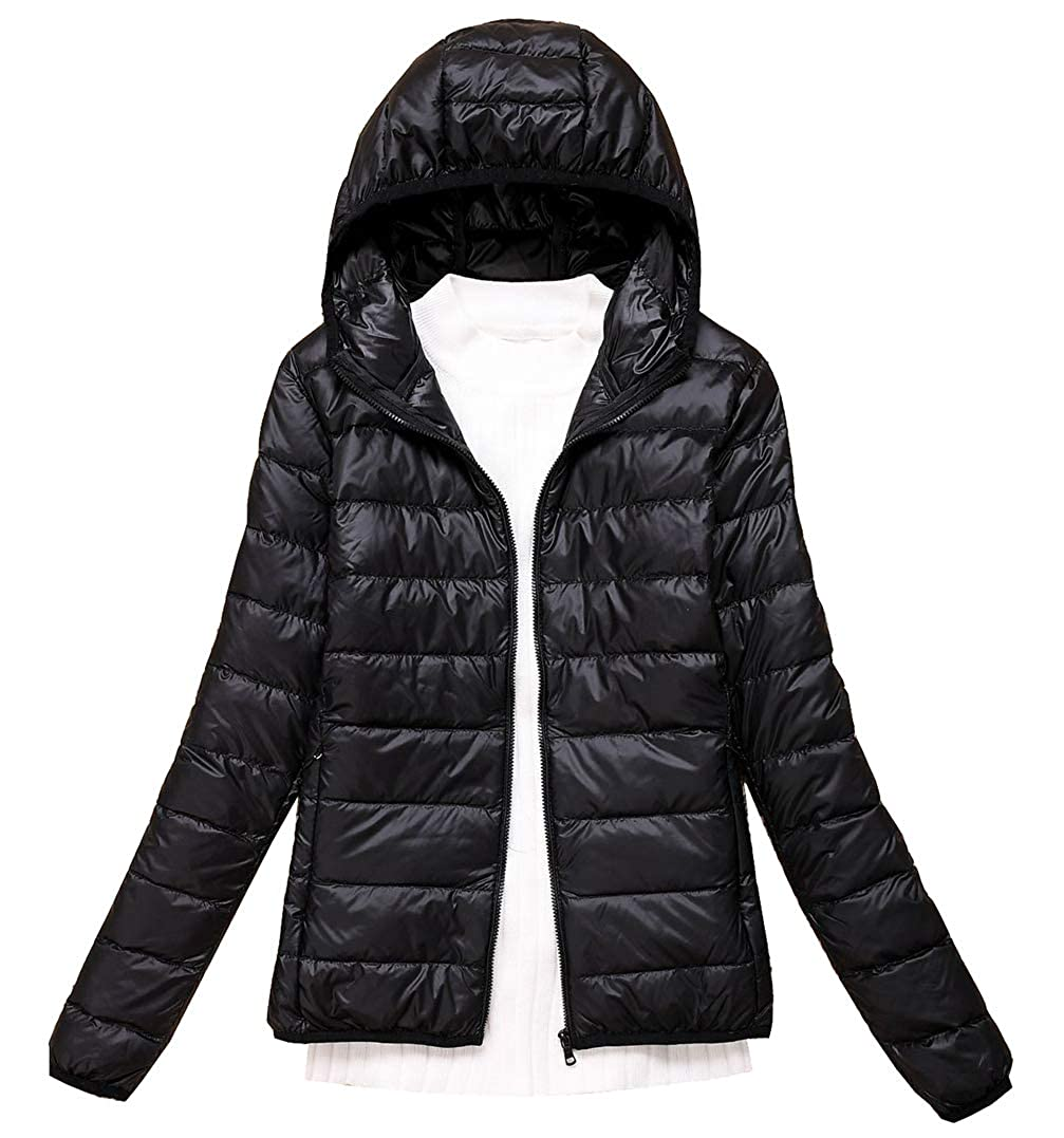 JYZJ Mens Hooded Business Zip Up Thick Down Quilted Jacket Coat Outwear