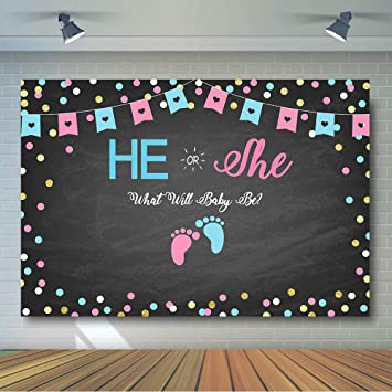 Comophoto Gender Reveal Backdrop Blackboard Baby Shower Party Decoration Banner He Or She Photo Background Gender Reveal Photography Studio 7x5ft