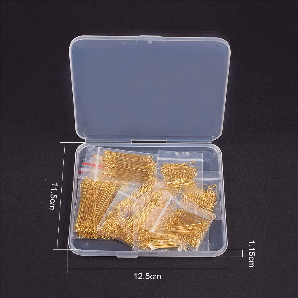 PH PandaHall About 720pcs 12 Sizes Brass Open Eye Pin Golden Head Pins Findings for Jewelry Making