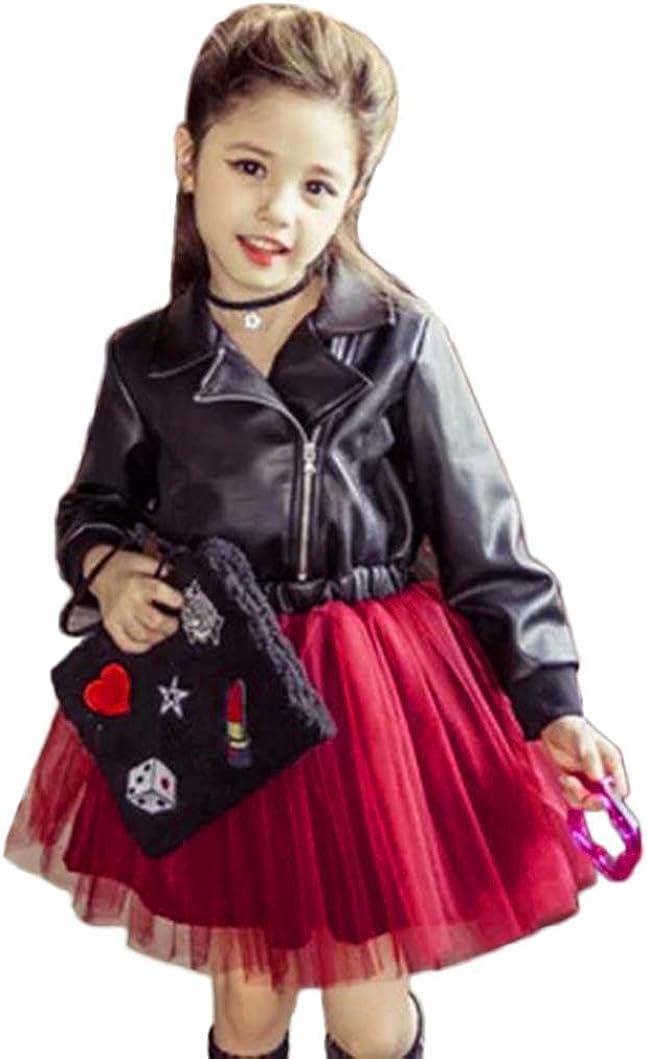 K-youth® Vestidos De Fiesta Tutú Princesa Vestido Ropa Bebe Niña Falda de Empalme de Malla de Cuero de la Solapa del Temperamento de los niños