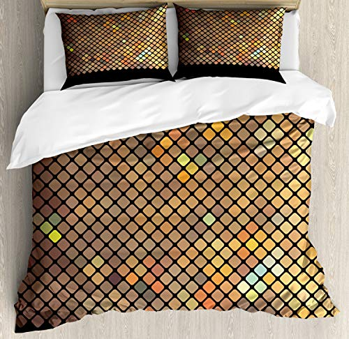 - Ambesonne Earth Tones Duvet Cover Set King Size, Vibrant Mosaic of Diagonal Squares with a Black Finish Celebration Event Theme, Decorative 3 Piece Bedding Set with 2 Pillow Shams, Pale Sand