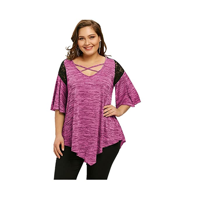 Blusa Moda Flojos de Manga Corta Para Mujer Blusa Camiseta Cuello V Chaleco Blusa Para Mujer